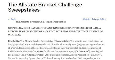 espn allstate bracket challenge sweepstakes  offers