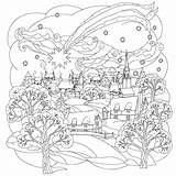 Coloring Adults Winter Scene sketch template