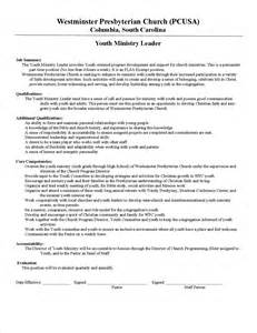 Resume Youth Leader by Image Youth Pastor Resume Sle