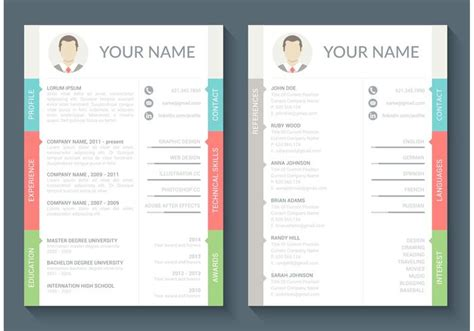 Curriculum Vitae Template Free by Free Curriculum Vitae Vector Template Free