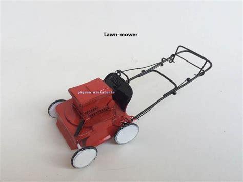Metal Lawn Mower Grass Cutter Dollhouse Miniature