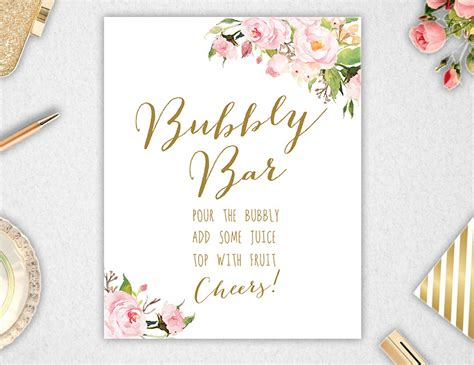 display easel bubbly bar sign printable instant 8x10