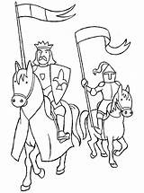 Coloring Knight King Colouring Printable Knights Sheets Medieval sketch template