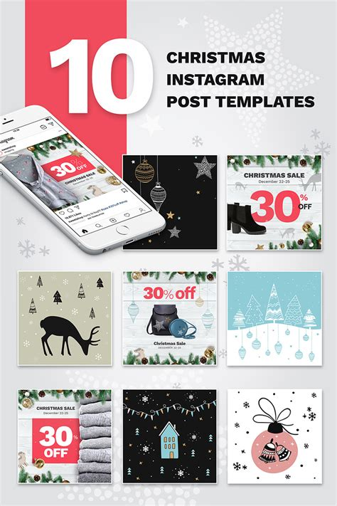 christmas instagram post templates social media