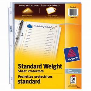 averyr standard weight sheet protectors 74305 pack of 50 With document protectors walmart
