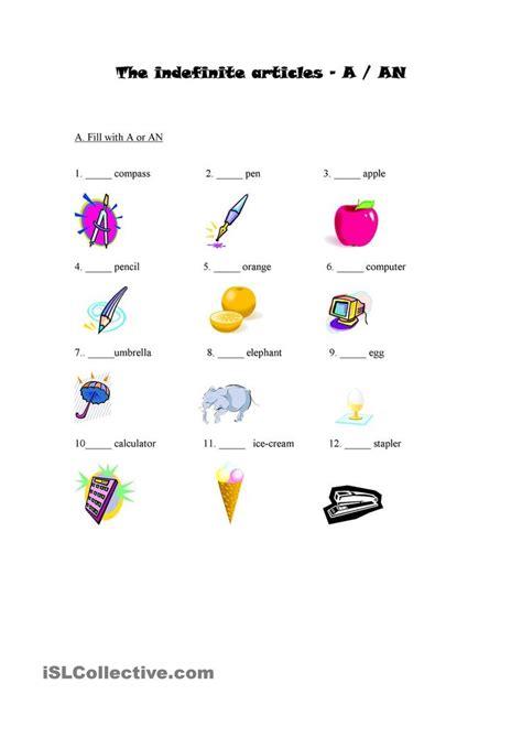 indefinite article  images grammar worksheets