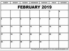 February 2019 Calendar Template 2018 calendar printable