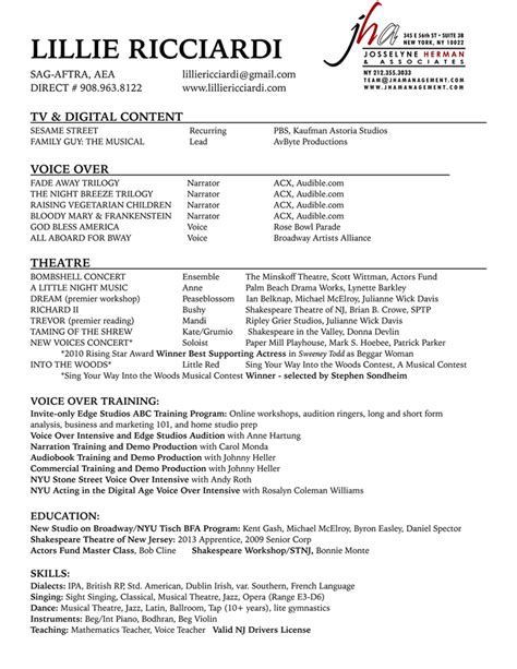 resume for voice voice resume resume ideas