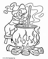 Cauldron Coloring Witch Printable Halloween Colouring Template Soup Preschool sketch template