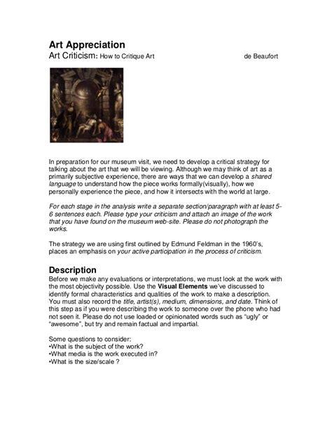 art criticism instructions