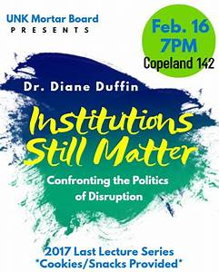 Duffin presents Last Lecture: 'Institutions Still Matter ...