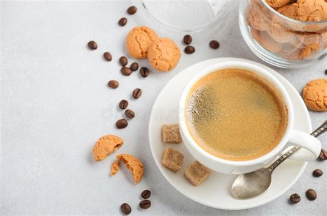 Find & download free graphic resources for coffee cookie. Cup Of Fresh Coffee With Amaretti Cookies On Gray Concrete Or Stone Background. Stock Image ...