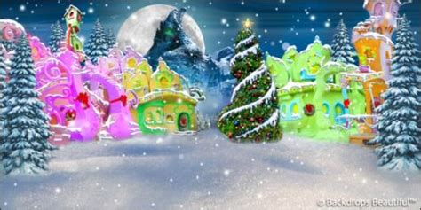 Whoville Grinch Backdrop by Backdrops Whoville 2 Tree Puppets And Theatres