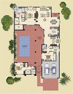 u shaped house plans with central courtyard 4 swimming With floor plans with pool in the middle