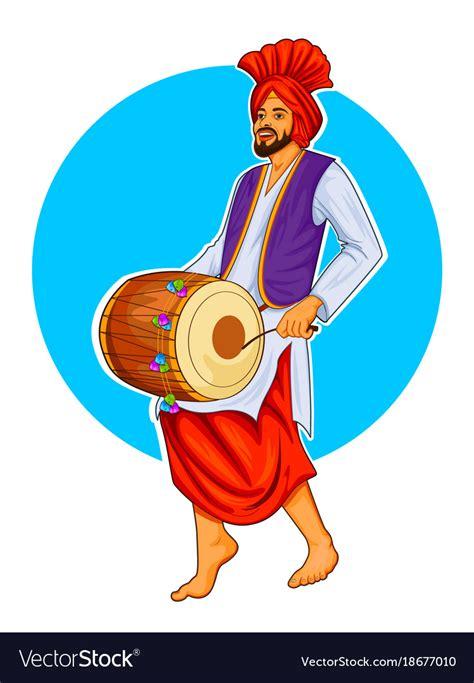 sikh punjabi sardar playing dhol  dancing vector image