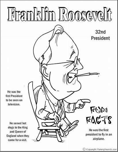 Coloring Roosevelt Franklin Pages Theodore Presidents President