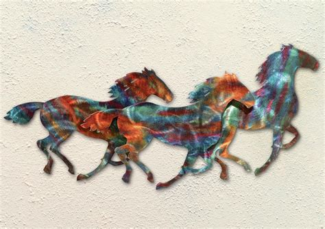 Our custom metal wall art is made in the united states and built to survive both inside and outside—and our work doesn't rust over time, as everything we make is built to last. Horse Stampede Copper Patina Metal Wall Art