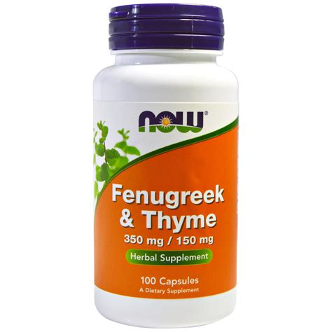 Now Foods Fenugreek Thyme 350 Mg150 Mg 100 Capsules