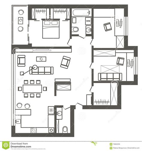3 Bedroom Flat Architectural Plan architectural sketch plan of three bedroom apartment stock
