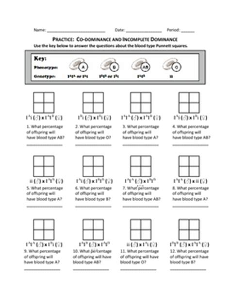 Punnett Square Practice Co By Haney Science  Teachers Pay Teachers