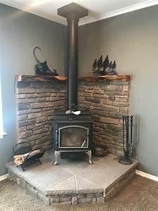 Corner, Wood, Stove, Fireplace, With, Juniper, Mantel