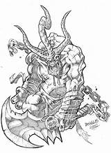 Demon Coloring Pages Demons Colouring Dentist Horror Swordsman Deviantart Template Halloween Sketch sketch template