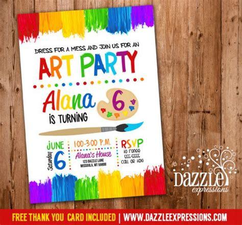 printable painting art party birthday invitation rainbow