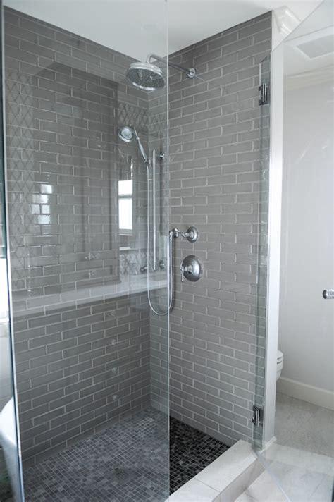 grey subway tile contemporary bathroom shelter