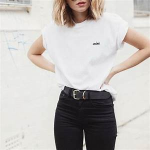 T-shirt tumblr white t-shirt embroidered embroidered t shirt jeans black jeans belt ...