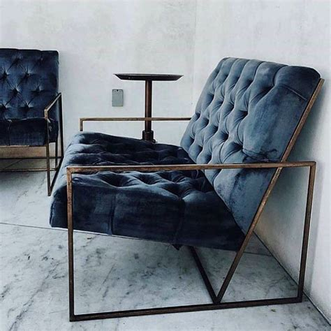 gorgeous blue velvet chair with metal frame home