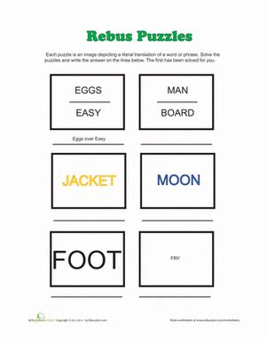 rebus puzzles worksheet education