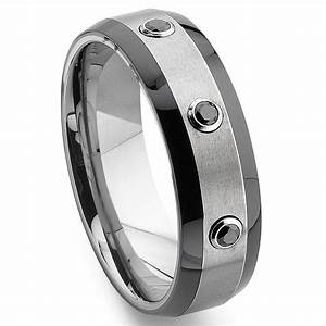 tungsten carbide black diamond two tone wedding band ring With tungsten carbide wedding ring