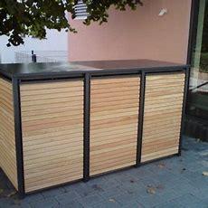 Mülltonnenbox Alu Mit Lärche Horizontal Belattet, Komplett