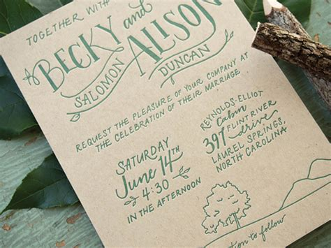 becky alisons hand lettered rustic wedding invitations