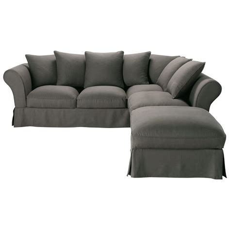canapé d 39 angle convertible 6 places en taupe grisé