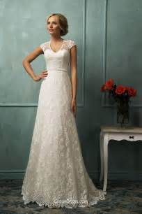 amazing a line cap sleeves floor length long tail lace