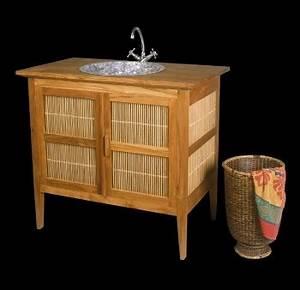 meuble salle de bain teck bambou 94 meubles support de With meuble vasque salle de bain en bambou