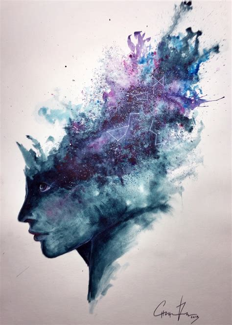 watercolor abstract portrait quot universal mind quot speed