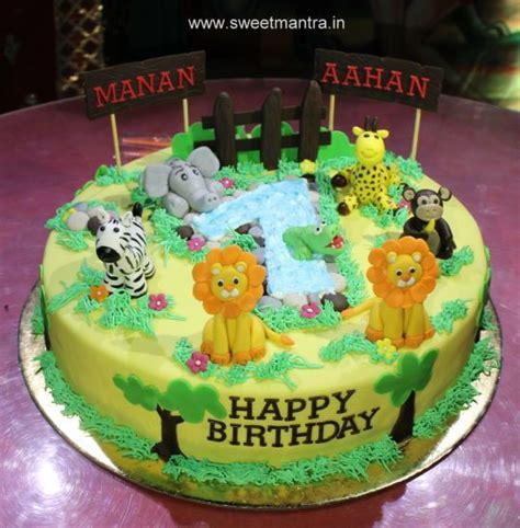 animal jungle theme customized  designer cake  twin