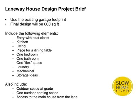 laneway house design project day  slow home studio