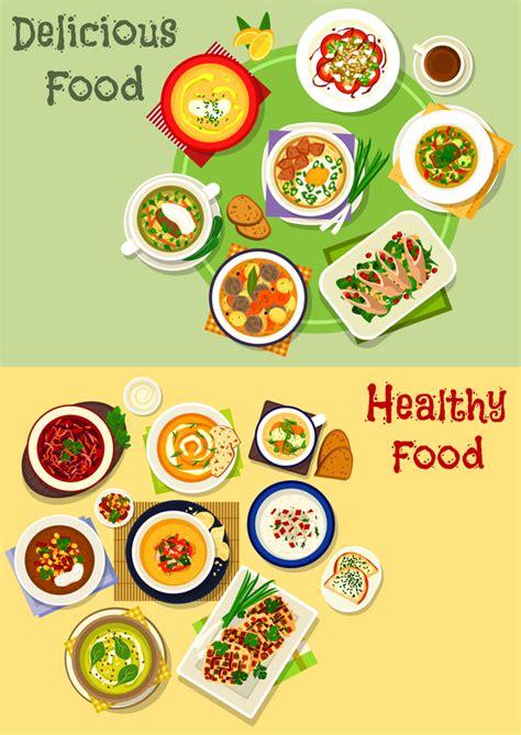healthy  delicious food vector template  vector