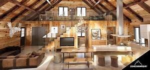 zone sismique bois hamel chalet interieur salon cuisine With delightful maison en rondin prix 11 deco jardin avec rondin de bois