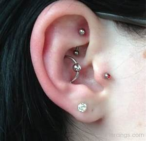 Conch Rook Tragus And Lobe Stone Piercing