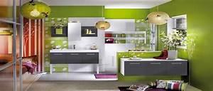 Deco Salle De Bain Gris : association couleur avec le vert dans salon chambre cuisine ~ Farleysfitness.com Idées de Décoration