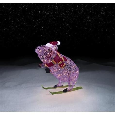 lighted pre lit pink christmas pig  skis outdoor
