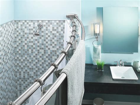Cool Curved Shower Curtain Rod Decor With Marble