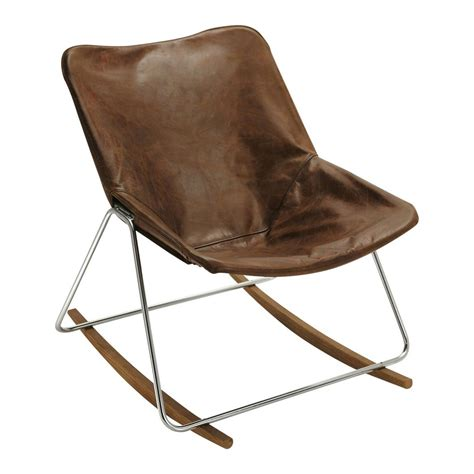 fauteuil  bascule en cuir marron  maisons du monde
