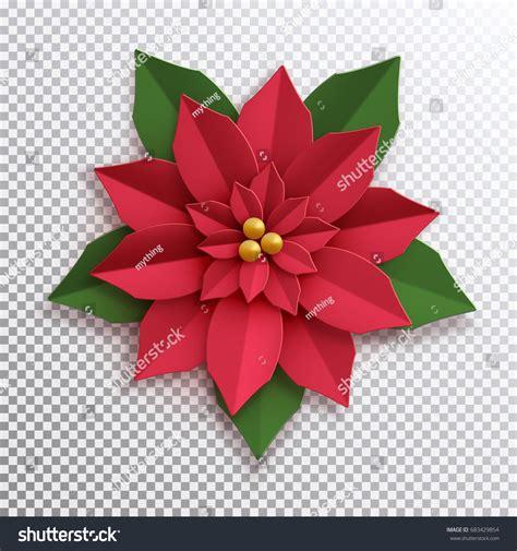 christmas star paper poinsettia red flower stock vector