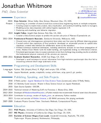 Data Science Resume Template by Sle Data Scientist Resume 7 Exles In Word Pdf