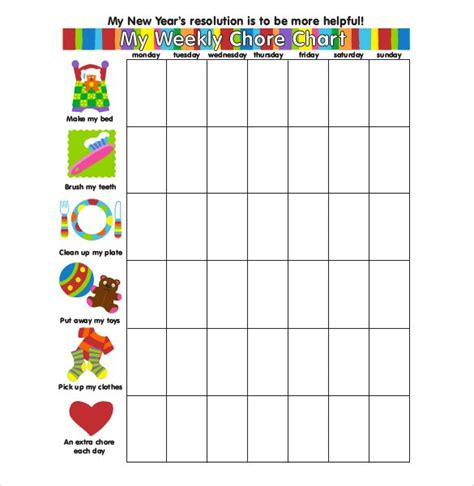weekly chore chart 30 weekly chore chart templates doc excel free premium templates